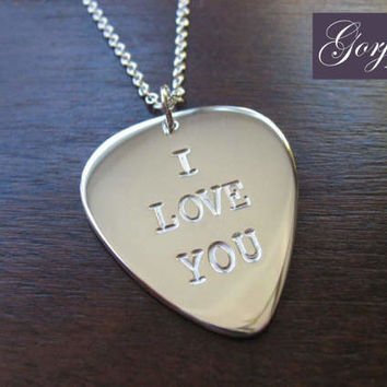 Plectrum I love you Silver Pendant Necklace