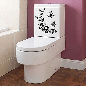 Butterfly Flower Bathroom Toilet Laptop Wall Decals Sticker Home Decoration HU