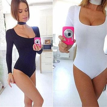 2016 Autumn Sexy Long Sleeve Women Leotard Women Extensible jumpsuit female playsuit girl bodysuit