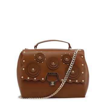 Blu Byblos Brown Metallic Leather Studs Crossbody Bag