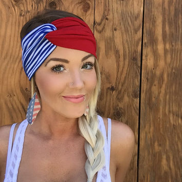 Patriotic Red, White, & Blue Vintage Turban Stretch Knit Headband Head Scarf Cute Hair Cover Woman Girl Fashion Yoga Band Nautical Stripes