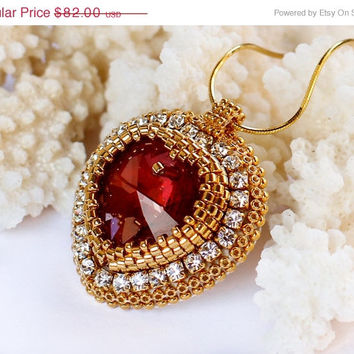 ON SALE Gold Bridal Necklace with Red Heart Pendant. Embroidered Designer Bridal Jewelry. Valentine's Day.