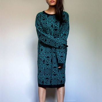 Teal Black Sweater Dress Vintage 80s Knit Long Sleeve Oversized Knit Geometric Slouchy Winter Dress - Medium Large M L