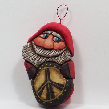 Santa Ornament Happy Peace Wood Carving