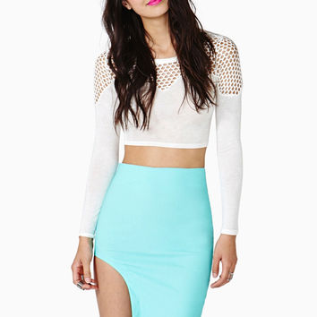 Blue Asymmetric Bodycon Mini Skirt
