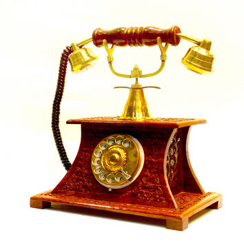 Aakashi Antique Carved Telephone