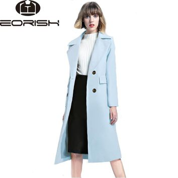 2017 New Winter Coat Women Turn Down Collar Breasted Button Long Coat Outerwear Solid Color Khaki Blue Pink Big Size XXL
