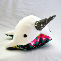 Narwhal Plush - Sparkle Tooth -  Medium - MADE TO ORDER (Choose Colors)
