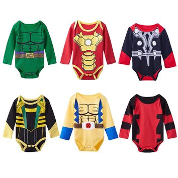 Baby Boys Superhero Costume Wolverine Hulk Iron Man Loki Thor Bodysuit Infant Jumpsuit Infant Halloween Playsuits Babygrows