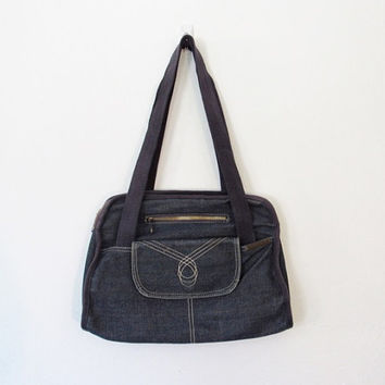 Vintage Boho / Rocker Bag World / Navy Blue Denim Bag / Jean Purse