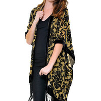 1920's Inspired Black & Tan Burnout Velvet Damask Print Beaded Scarf Coat - Unique Vintage - Cocktail, Pinup, Holiday & Prom Dresses.