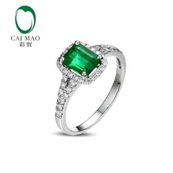 CaiMao 1.5ct Natural Emerald 18KT/750 White Gold 0.4ct Round Cut Diamond Engagement Ring Jewelry Gemstone colombian