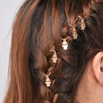 Hamsa Hair Rings Gold Tone Protection From The Evil Eye Wear Them In Your Boho Braids Good Luck Amulets
