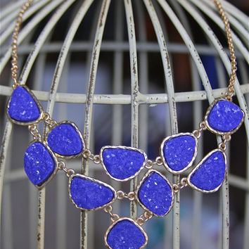 Cobalt Blue Statement Necklace Faux Druzy