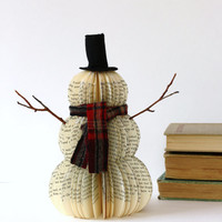 VINTAGE BOOK SNOWMAN /// Frosty /// made to order