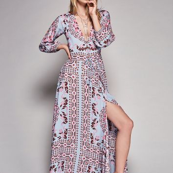 Boho Vintage Deep V Long Maxi Dress