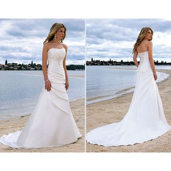 Summer Beauty Strapless Court Train Lace Up Backless White Beach Wedding Dresses 2014 Bridal Gowns