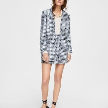Bicolor tweed blazer - Women | MANGO USA