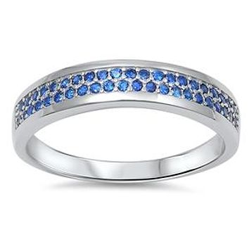.78CT Cushion Cut Blue Sapphire Eternity Ring