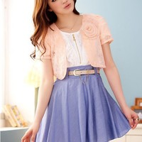 Women Cute Lace 3D Flower Short  Sleeve Pink One Size Shawl@MF3121p