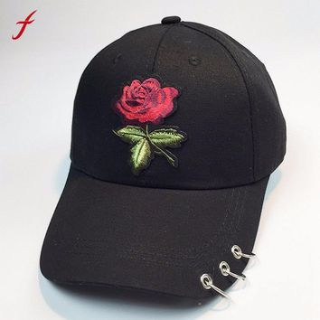 Trendy Winter Jacket Women's Cap Satin Summer Sun Visor Embroidery Red Rose Flower Baseball Cap Dad Hat For Men Adjustable Snapback Caps Female AT_92_12