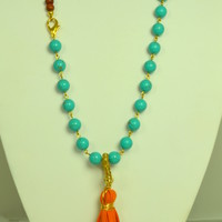 Orange Suede Tassel on Turquoise & Wood Necklace