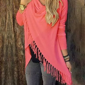 New Long Sleeve Cowl Neck Ruched Casual Fringed Knitted T-Shirt