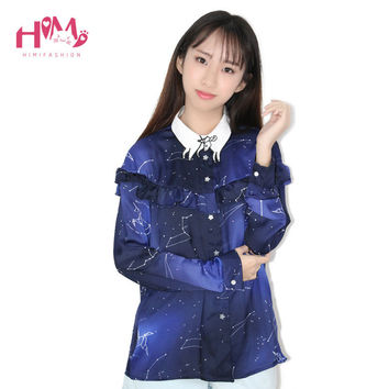 Space Star Chiffon Shirt Cosmic Constellation Women Blouse Long Sleeves Galaxy 3D Digital Prints Shirts Casual Cute Girl Tops
