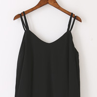Black Chiffon Tank Top