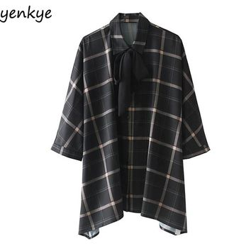 Women Plaid Oversized Blouse Casual Long Sleeve Bow Tie Turn-down Collar  Ladies Shirts