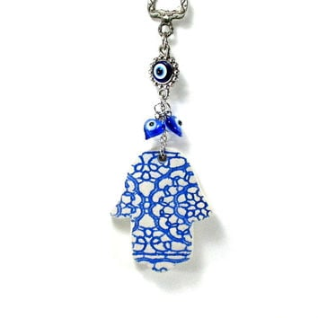 Ceramic hamsa, hamsa wall decor, hamsa wall art, hamsa wall hanging, hamsa hand, evil eye, judaica, hanukkah gift, evil eye wall decor