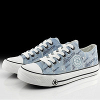 Distressed Graphic Canvas Sneakers