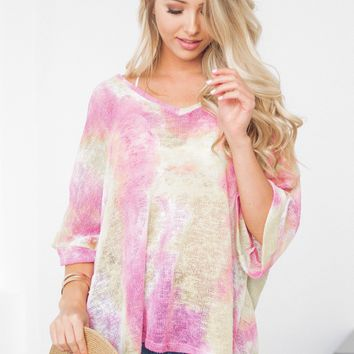 Color Splashed Cuffed Sleeve Top