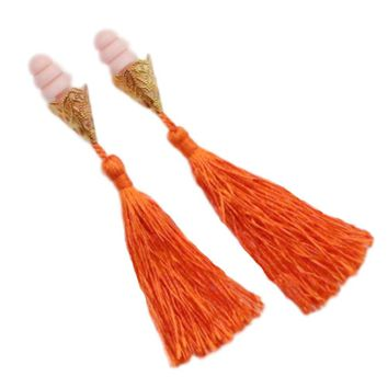 BREAKFAST AT TIFFANY'S INSPIRED TASSEL EARPLUGS IN ORANGE
