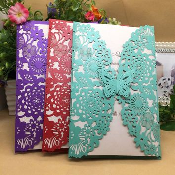 10Set Butterfly Wedding Invitation Cards Multi-color Laser Cut