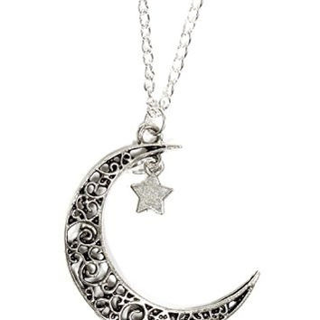 Crescent Moon Star Necklace Vintage Silver Tone Lunar Filigree Pendant NP16 Fashion Jewelry