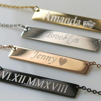 Sorority Gift, Roman Numeral Necklace, Big little Sororty, bar Necklace, Custom Date Necklace, Date Necklace, bridesmaid gift, Roman Numeral