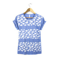 Rainstorm Pattern - Hand STENCILED Scoop Neck Pinned Rolled Cuffs Striped Women's Tee in Heather Light Indigo and White - S M L XL 2XL 3XL