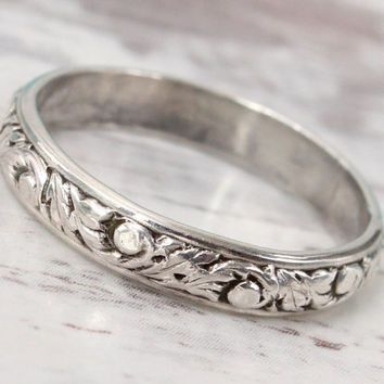 Rustic wedding ring - Sterling silver - floral ring band - anniversary wedding stacking ring - antique vintage style - Renaissance ring