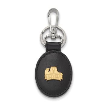 NCAA 14k Gold Plated Silver Baylor U Black Leather Key Chain