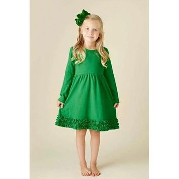Perfect 2017 Christmas Ruffle Green Dress