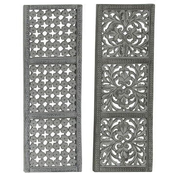 """Artistic Carved Wood Metal Wall Panel 2 Assorted 12""""W, 36""""H"""