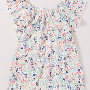 Cream & Mint Floral Peasant Tunic - Girls