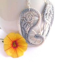 Romanian point lace earrings, gray crochet dangle, sewed earrings, handmade