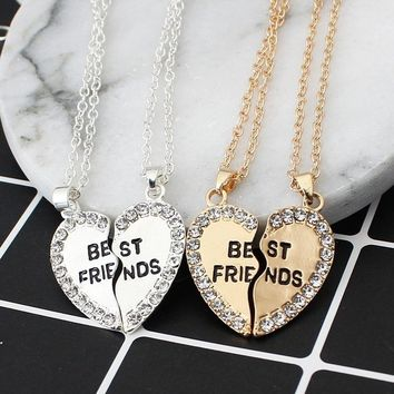 1Pair Half Love Heart Rhinestone Pendant Best Friends Necklace Friendship Gift For Couple colar kolye collier collares