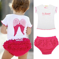 Baby, Toddlers Girls Angel Wing Top And Ruffle Pants 6-24 Months