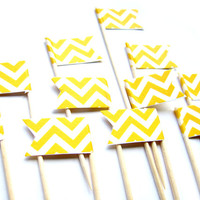 12 Yellow Chevron Cupcake Toppers - Washi Tape Cupcake Toppers, wedding, engagement, birthday, baby shower, tea party