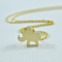 Sweet Baby Elephant Necklace, Gold Plated Brass Pendant, Delicate Chain, Everyday Wear, Perfect Gift
