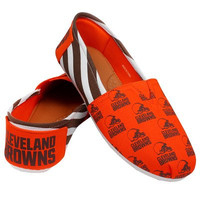 Cleveland Browns Official NFL Womens Stripe Canvas Slip-on Shoes