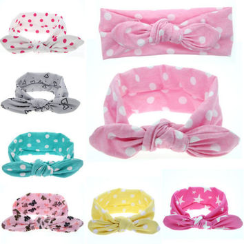 1 PC Cute Baby Kids Girl Print Flower Butterfly Dot Star Rabbit Ears Hairband Turban Bow Knot Headband Hair Band Accessories